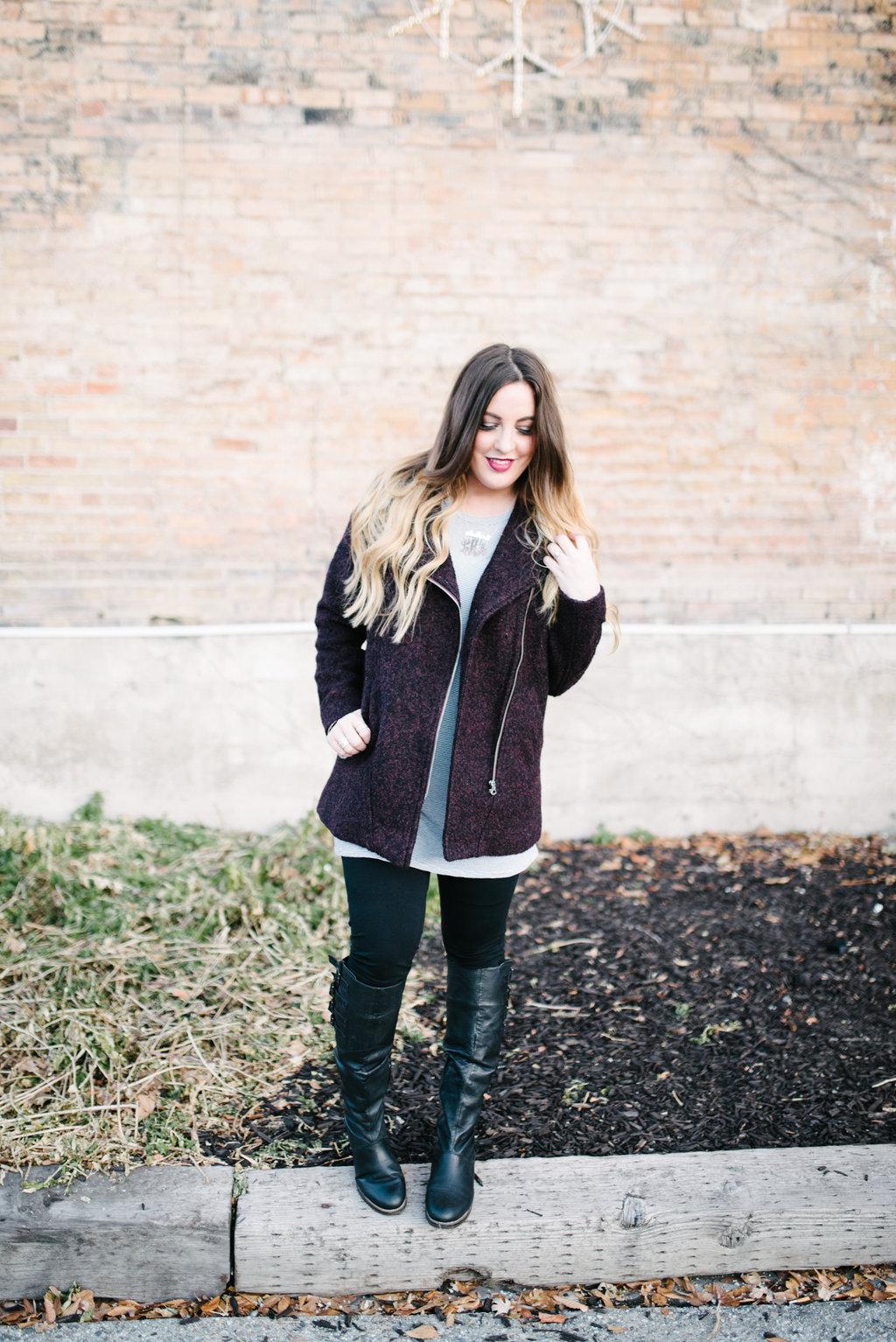 a wool blend coat