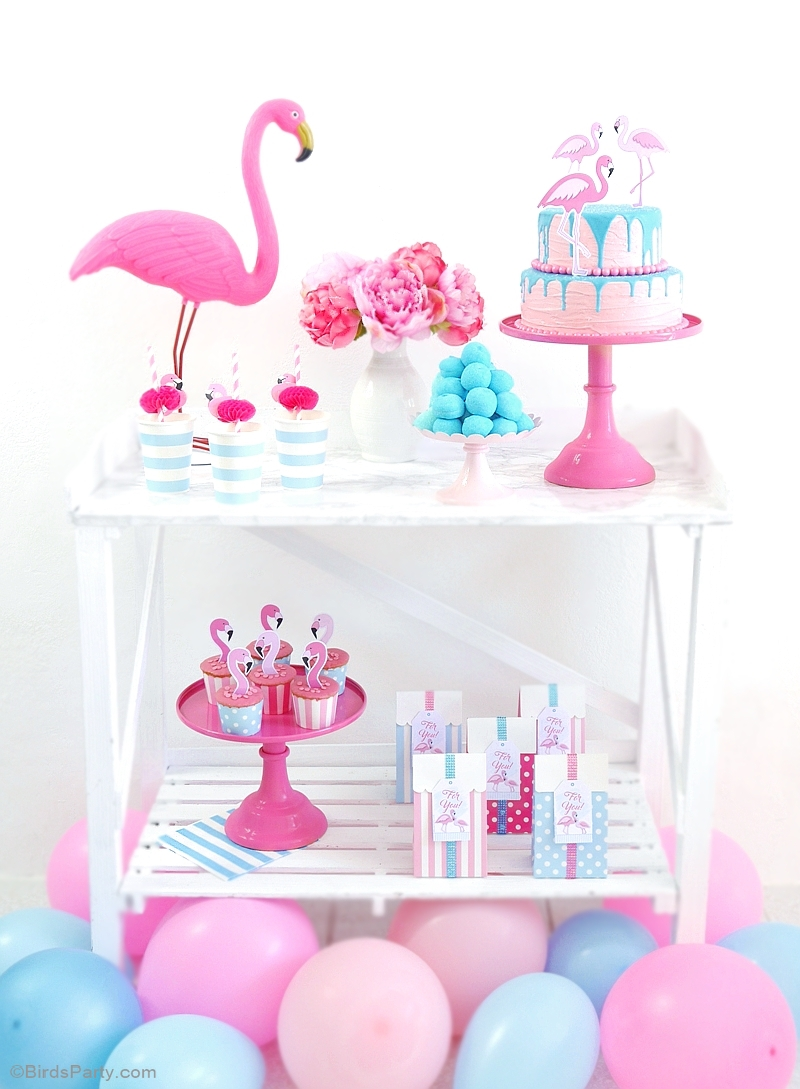 Flamingo Pool Party Ideas & Printables - BirdsParty.com