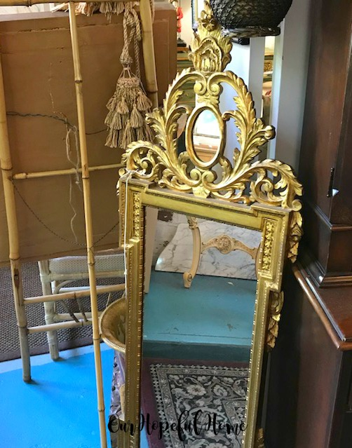 vintage gilded full length mirror