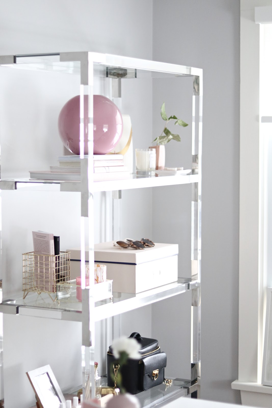 Chic and Practical Guide to Styling a Shelf , Lucite shelf, Homesense, GirlBoss Office, Blogger Office Tour, white and pink office