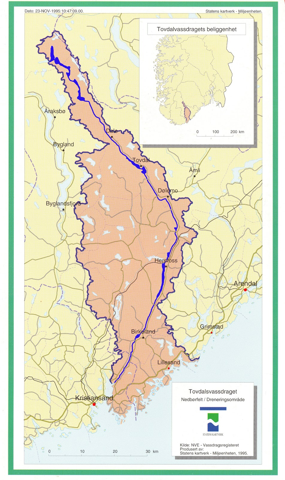 otra kart Tiurskogen: Tovdalselva. Varig vernet otra kart