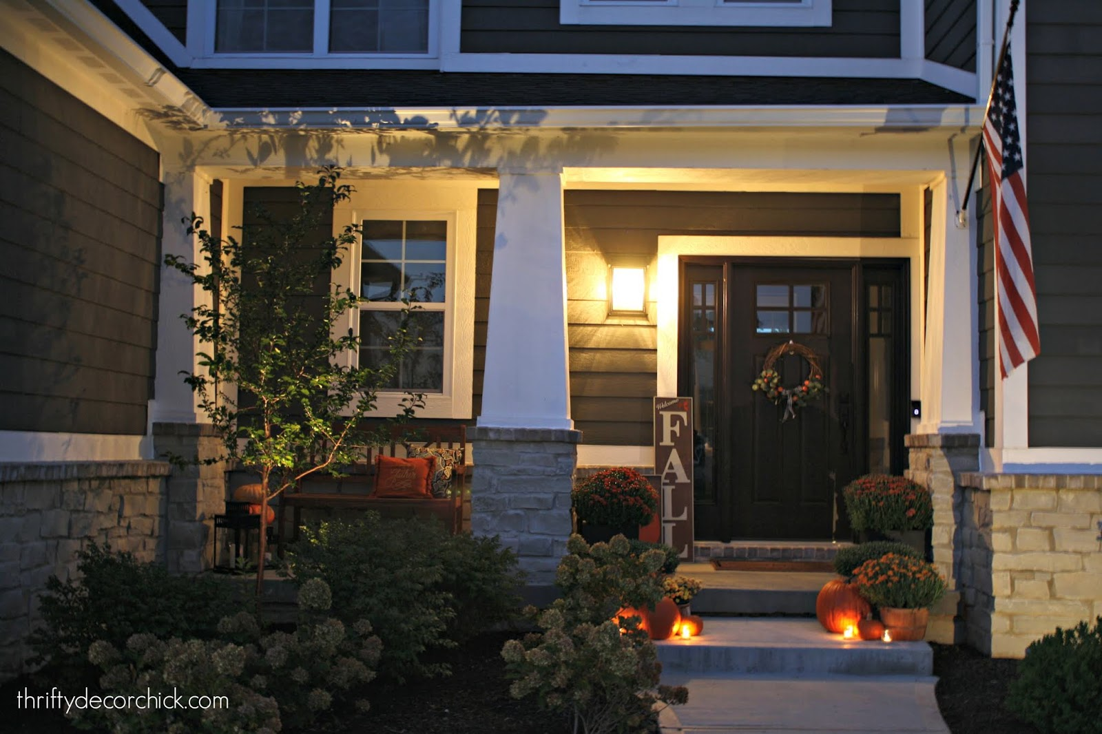 Modern Craftsman home fall porch