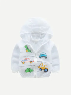 Toddler Boys Cartoon Print Hooded Coat