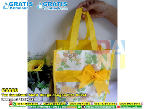 Tas Spunbond Motif Bunga Dengan Pita Buket