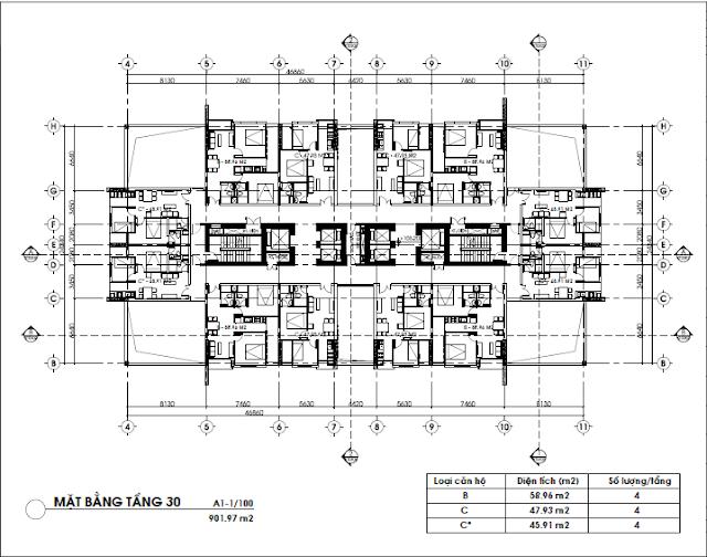Mặt bằng tầng căn hộ 30, FLC Green Home