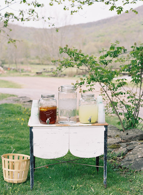 Drinks on a table for Jonna and Heather's Inn at West Settlement Wedding by Karen Hill Photography