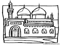 Gambar Masjid Untuk Diwarnai