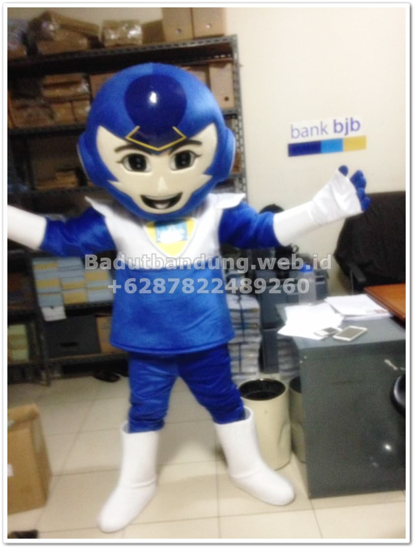 contoh kostum maskot bank bjb robot biru pria