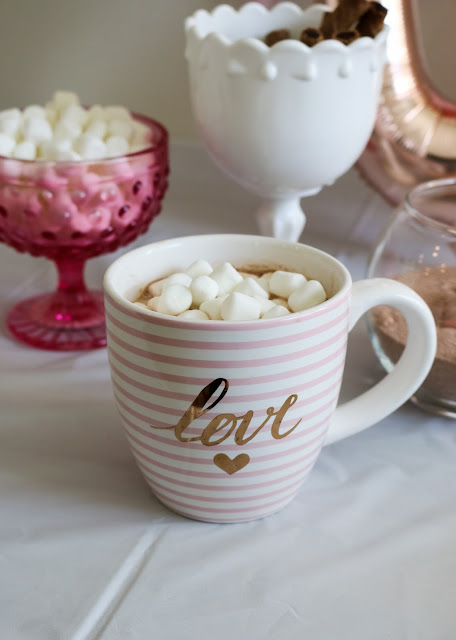hot chocolate in a love mug at a Simple Valentine's Day party