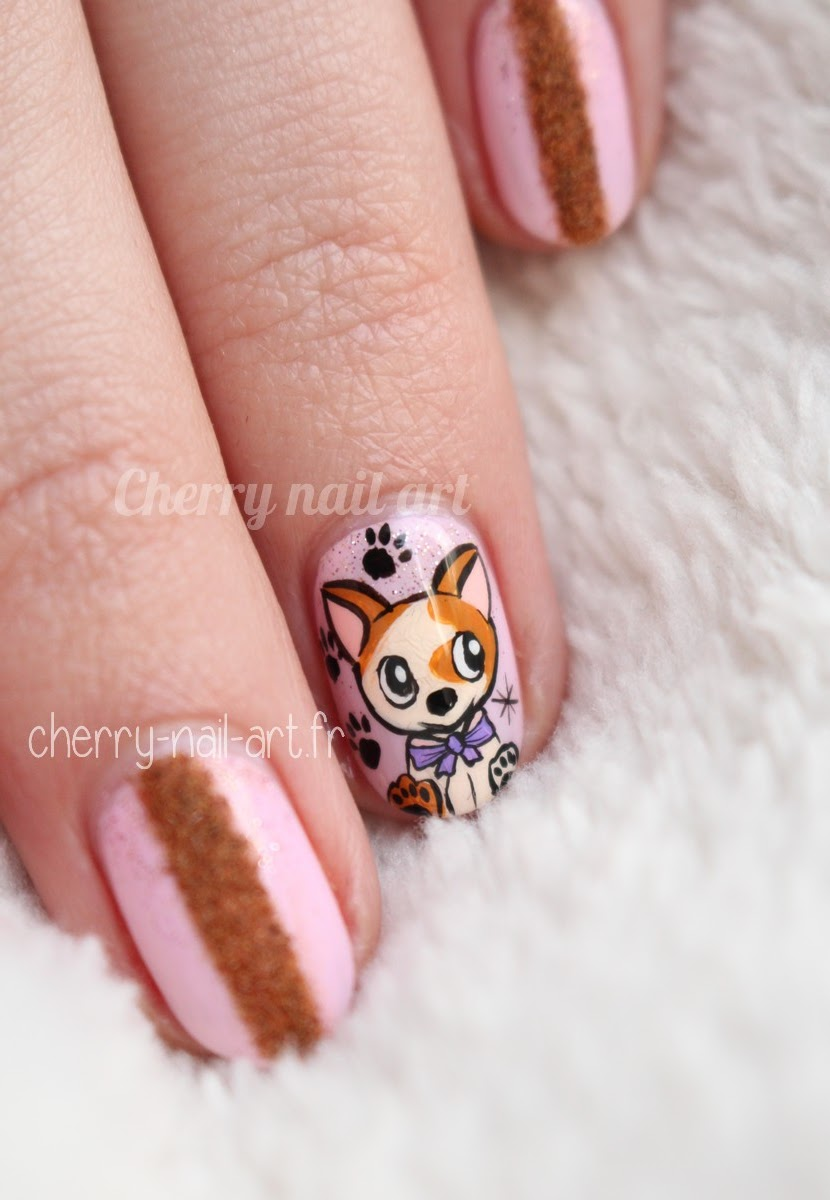 Cherry nail art blog mode beaut nail art chien nouvel an chinois - Nail art nouvel an ...