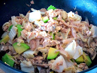 Stir fry - onions, celery, tuna, avocado, mushrooms