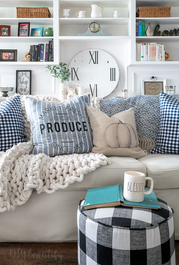 blue fall pillows