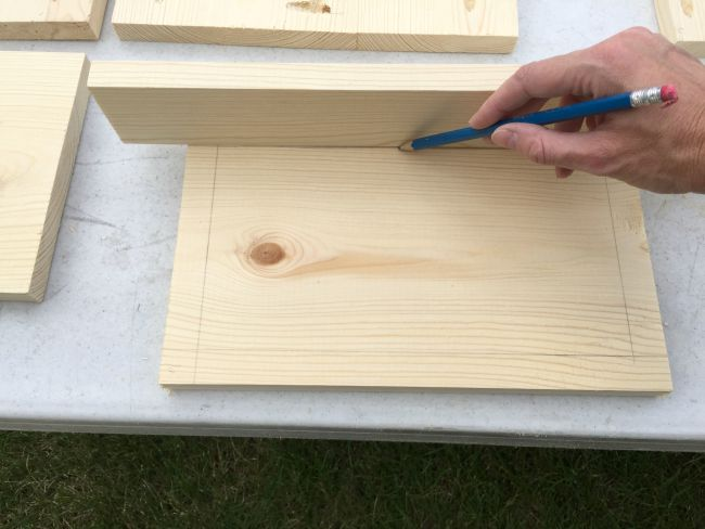 marking edges for x pattern on floating night stand