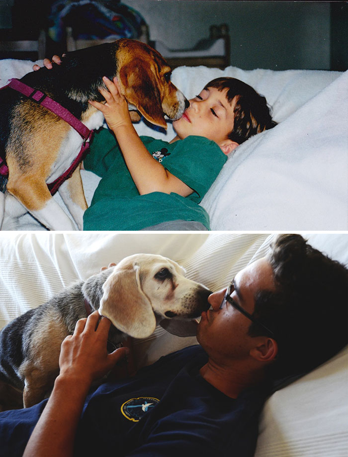 30 Heart-Warming Photos Of Dogs Growing Up Together With Their Owners - Before And After