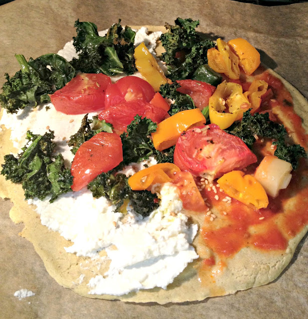 Roasted vegetables on a plantain pizza crust