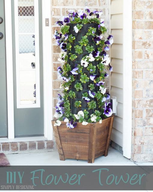 Flower Tower DIY Window Planter Pots #flower #flowertower #planter #outdoorplanter #outdoor @SimplyDesigning