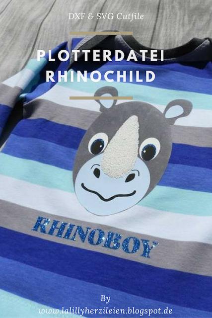 Rhinochild ist ein Plottdesign, das im kindlichen Comicstil gejalten ist. Mit diem Cutfile lässt sich beispielsweise Kinderkleidung individuell gestalten.