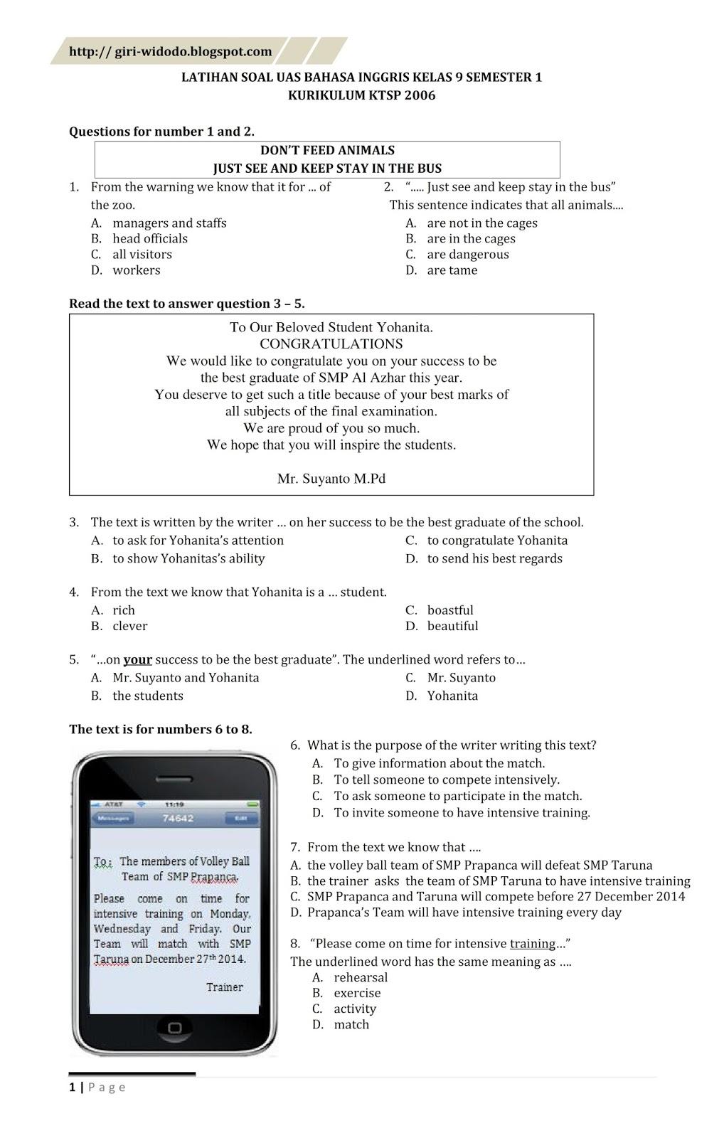 Soal Uas Bahasa Indonesia Kelas 9 Semester 1 Kurikulum 2013 : bahasa, indonesia, kelas, semester, kurikulum, Bahasa, Inggris, Kelas, Seputar