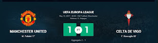 Manchester United through to Europa League final after a 1-1 draw with Celta Vigo in a match that saw two sent off.