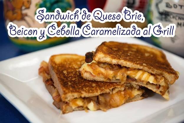 Sándwich de queso brie, beicon y cebolla caramelizada