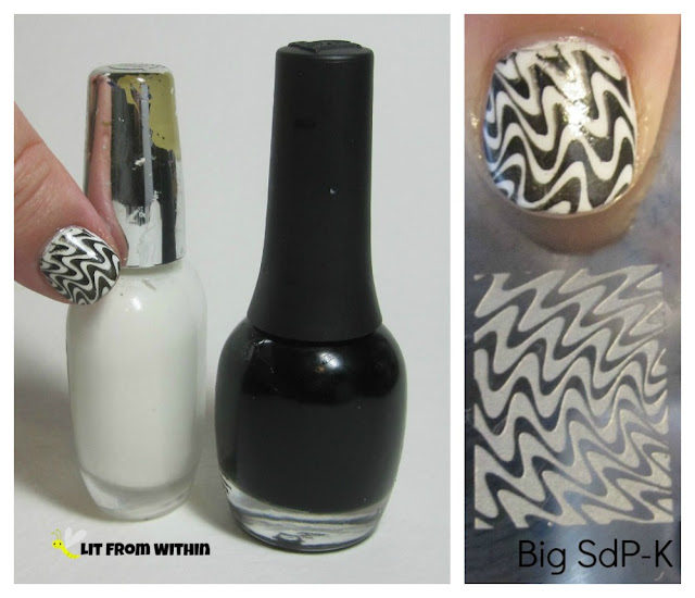 I used my melange of white polish, Finger Paints Black Expressionism, and my Big SdP-K stamping plate to create this design.
