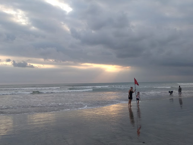 Red Flag in Kuta Beach, sign for dangerous area
