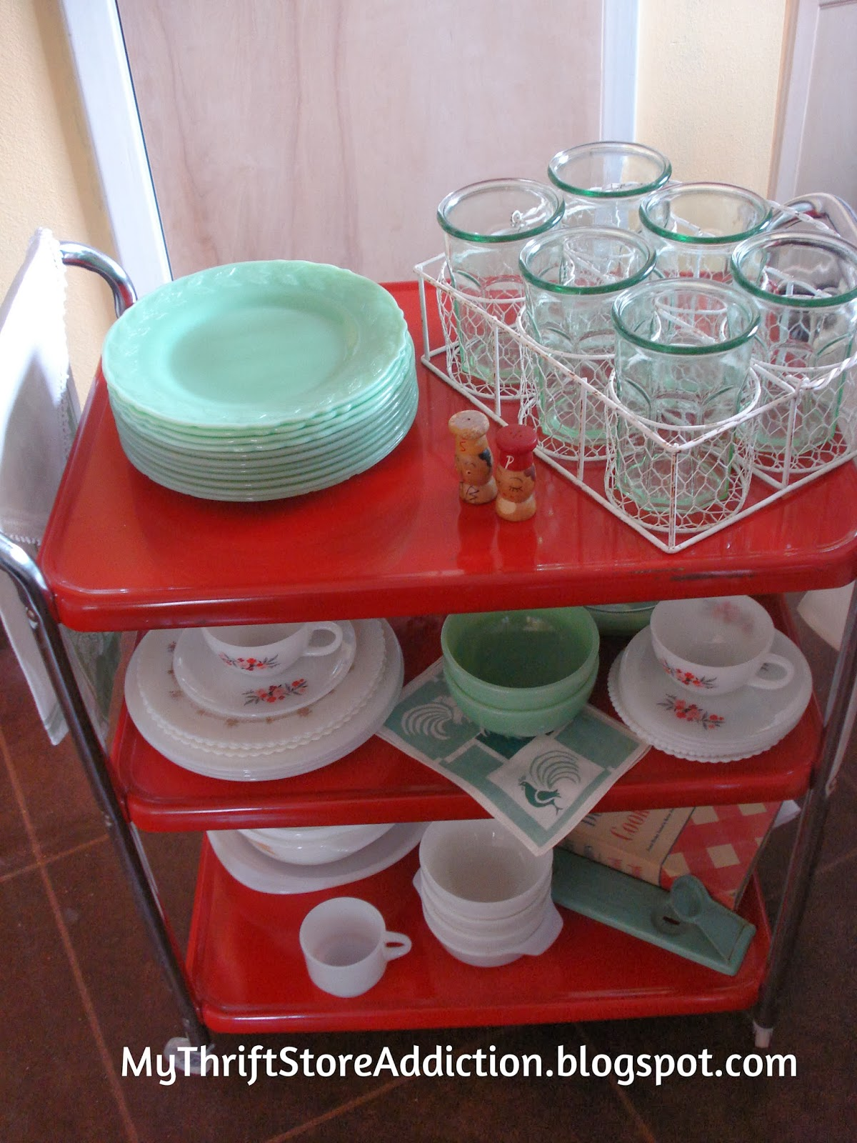 Vintage Cosco serving cart and jadeite display