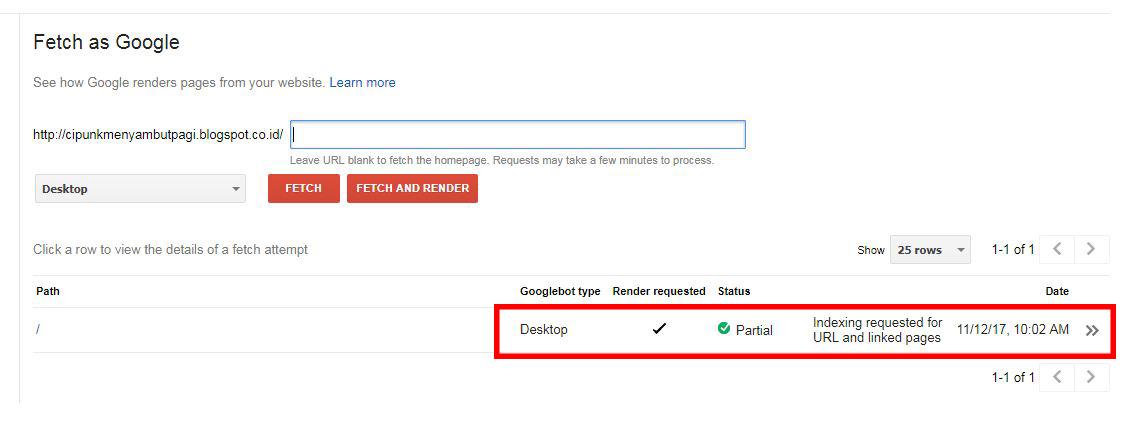 indext lebih cepat dengan cara submit url ke webmaster tool
