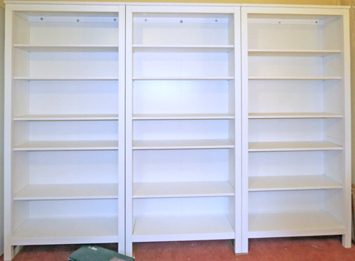 Three Ikea Hemnes Bookcases Bolted To Wall