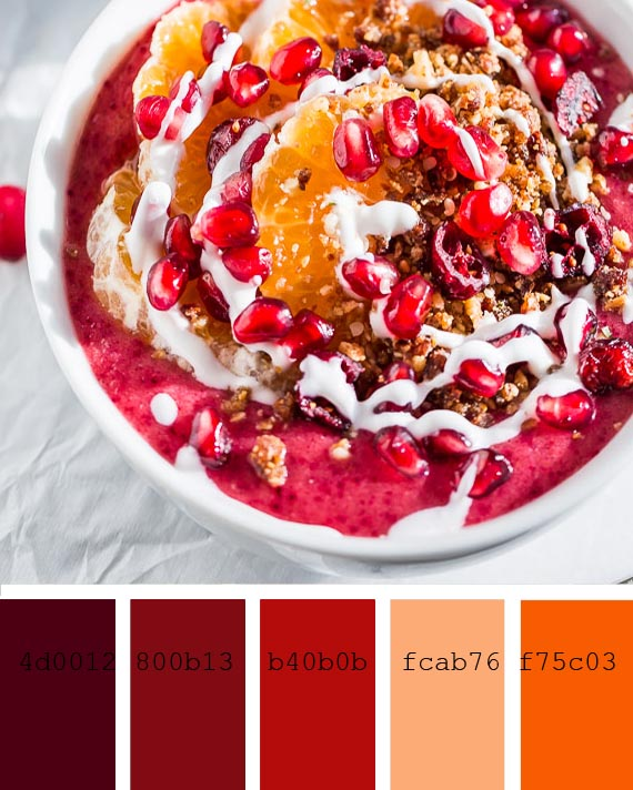 cranberry orange smoothie color palette and recipe