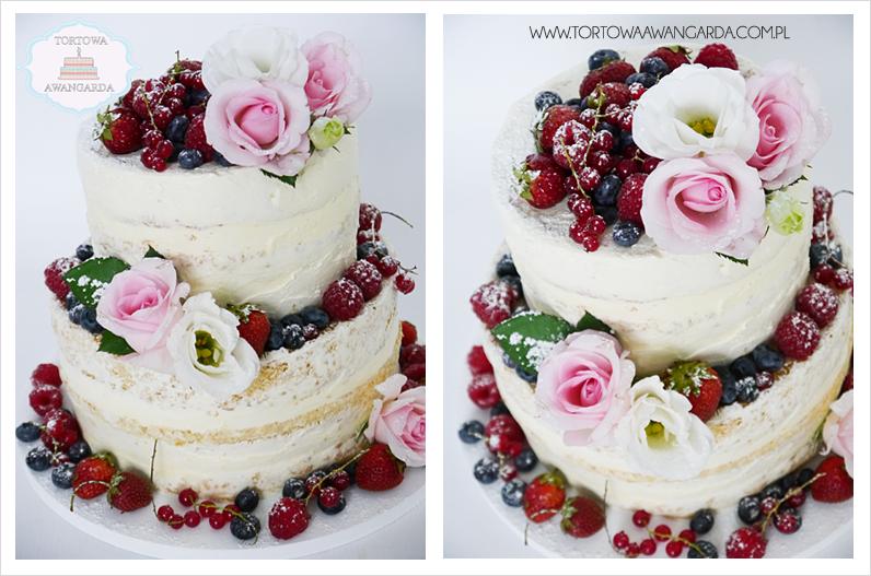 tort weselny naked cake z kwiatami i owocami w kremie bez masy Warszawa