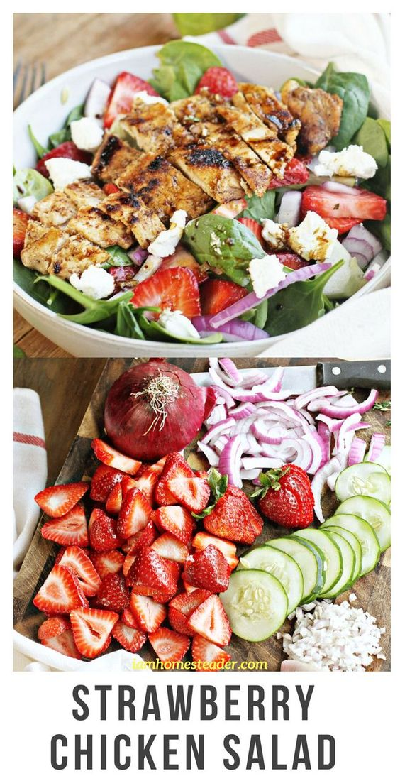This salad just screams summer to me. I don't know if there is any truth to it, but I feel like the hot summer temperatures make me crave different foods. I definitely eat a ton more fruits and vegetables in the summer months.Visit iamhomesteader.com for more delicious mouth watering recipes and fresh from garden meals! #salad #chicken #chickenrecipes #vegetarian #healthyrecipes #healthyeating