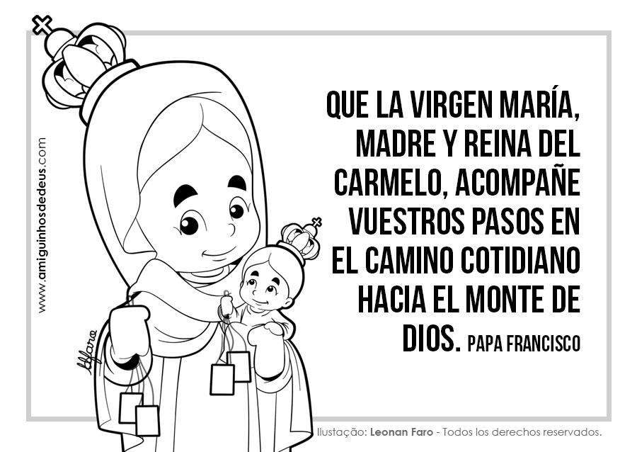 Nuestra Señora del Carmen dibujo para colorear