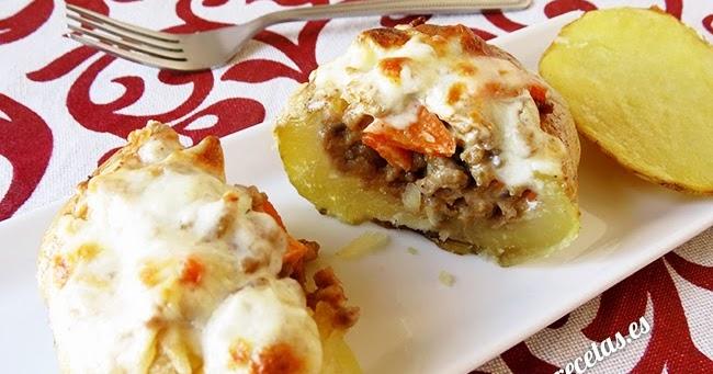 Patatas rellenas de carne y gratinadas al horno el for Cocinar patatas rellenas
