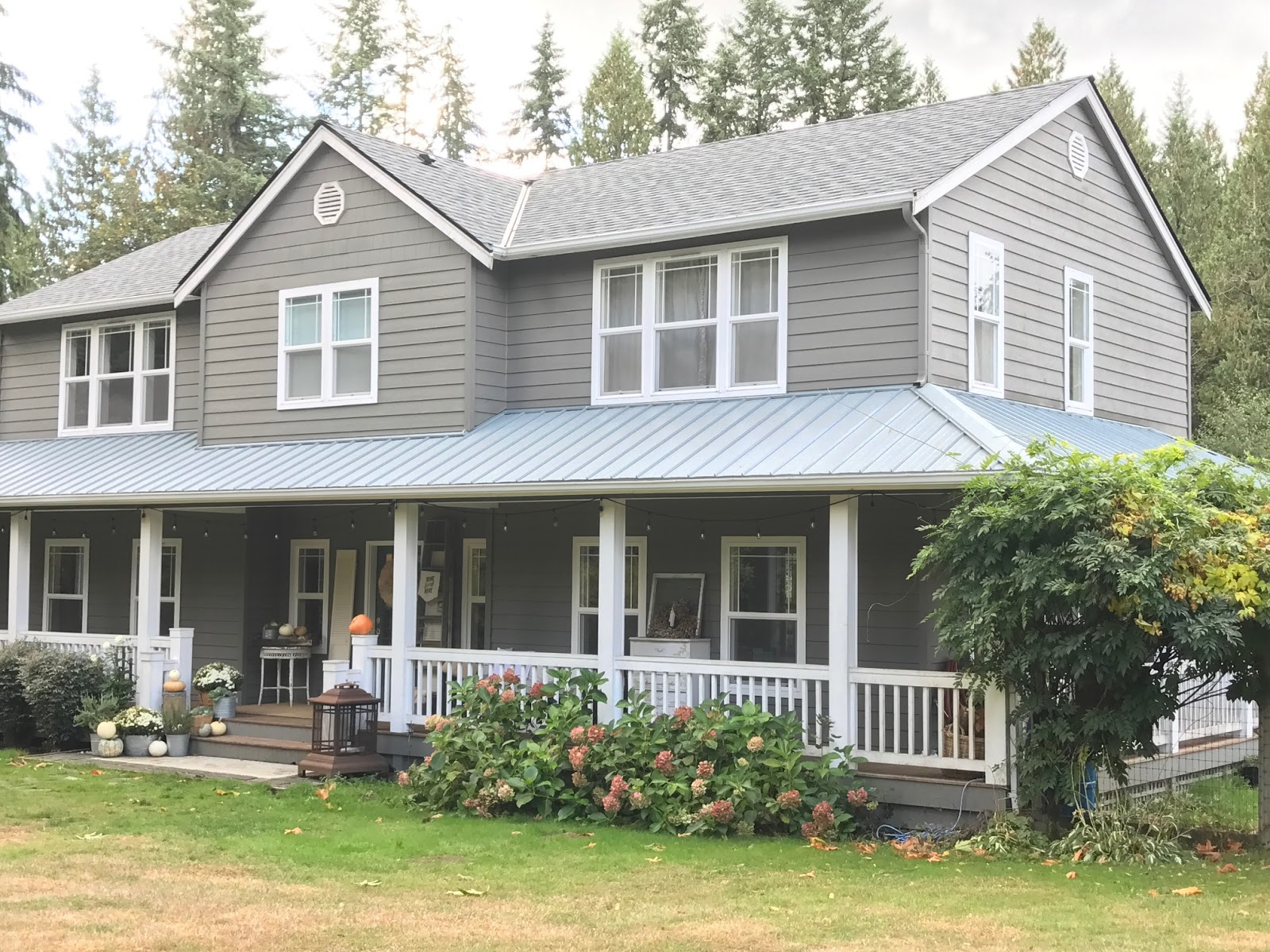 We Chose A Light Grey Standing Seam Metal Roof For Our Wrap Around Porch The Rest Of House Used Complementary Shingle