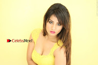 Cute Telugu Actress Shunaya Solanki High Definition Spicy Pos in Yellow Top and Skirt  0255.JPG