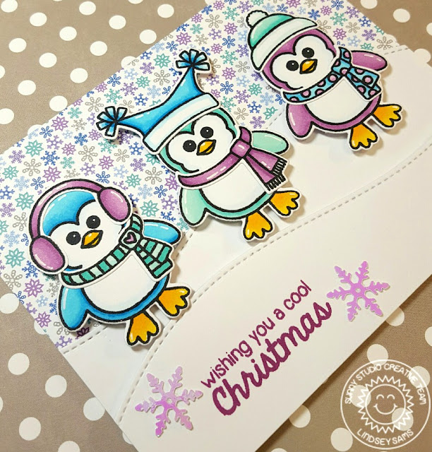 Sunny Studio Stamps: Bundled Up Penguin Cool Christmas Card by Lindsey Sams.