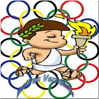 Ilustração mostrando um jovem saltando um obstáculo carregando uma tocha olímpica e com uma coroa de louros na cabeça.