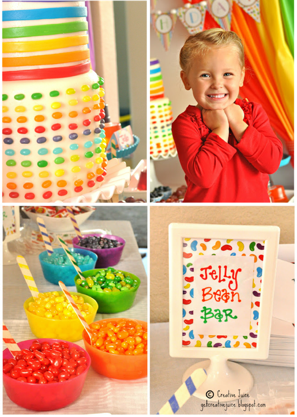 Rainbow Jelly Bean Birthday Party Ideas - via BirdsParty.com