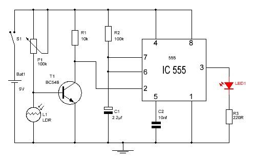 Detector de oscuridad con el  555 con LED.
