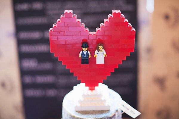 lego heart cake topper