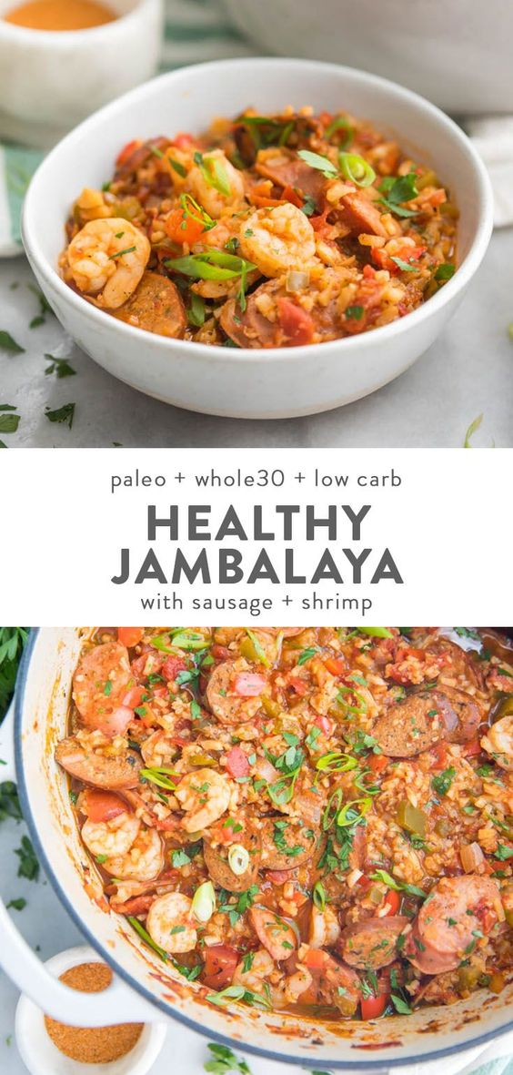 This healthy jambalaya recipe is a Whole30, paleo, low carb take on authentic Cajun food. , Easy, pretty quick, & even keto friendly, with sausage & shrimp.