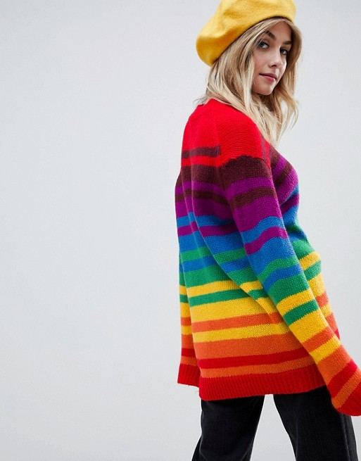 00ab138b718 Rainbow stripe jumper by ASOS and Rainbow oversized jumper dress by Lazy Oaf