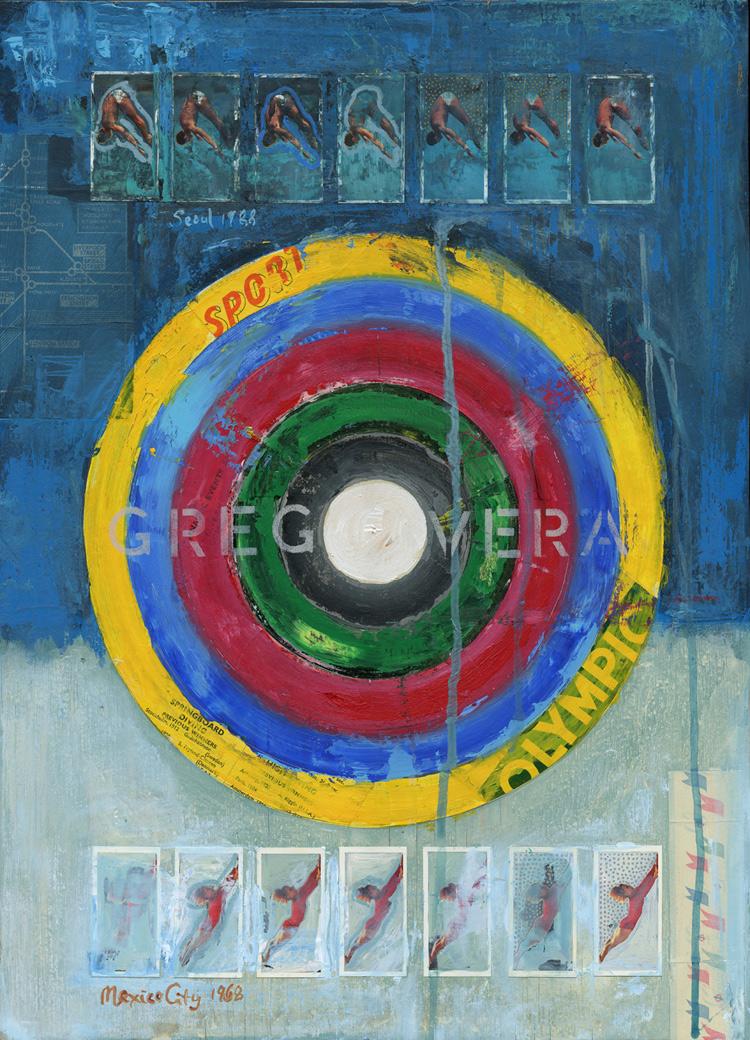Original mixed media artwork using vintage Olympic ephemera by artist James Straffon