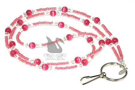 Pink Luster Rose Cats Eye Crystal Beaded Lanyard (L103)