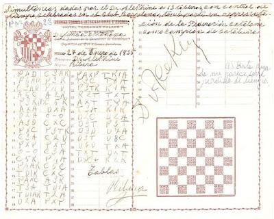 Planilla original de la partida Alexander Alekhine - Àngel Ribera i Arnal, 1935