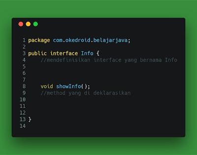 Contoh Code Penggunaan Interface di Program Java