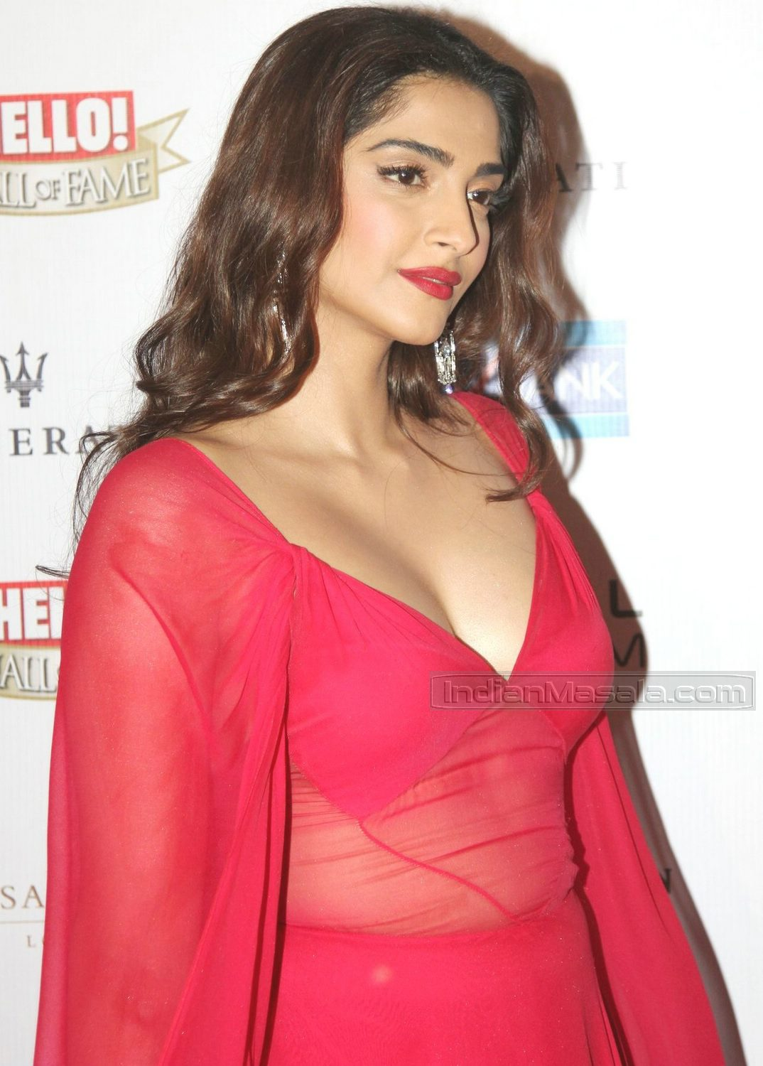 Sonam Kapoor in a red gown with deep neck pluning neckline at Hello Hall of Fame Awards 2016