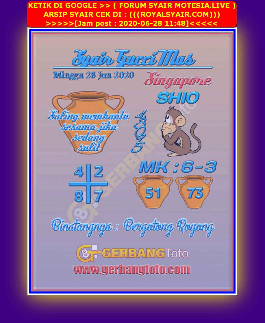 Kode syair Singapore Minggu 28 Juni 2020 45