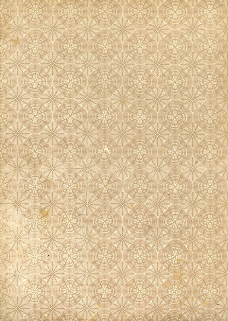 A paper from the flyleaf of a victorian era book with flower like designes in a diamond shape.